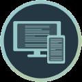 Icon mit Monitor und Smartphone mit Textinhalten
