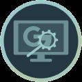 Icon mit Monitor und Lupe auf Google Zeichen