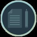 Icon mit Blatt Papier und Stift