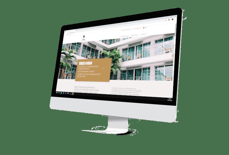 Bildschirm mit Webseite Firma Unisono
