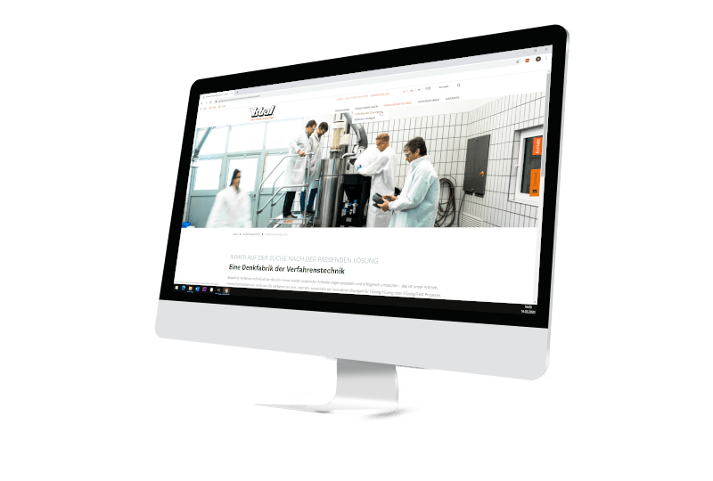 Bildschirm mit Webseite Firma Ystral