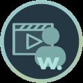 Icon einer Filmklappe mit einer Person im Vordergrund zum Thema Imagefilm