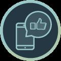Icon mit Abbildung eines Smartphones und einer Sprechblase mit Daumen-Hoch-Symbol